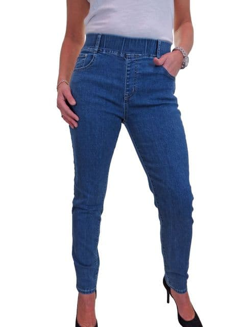 Womens High Waist Denim Jogger Style Jeans With Elasticated Waist